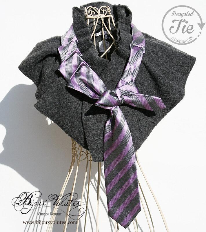 col-cravate-gris-soie-rayures-roses-bijouxvolutes