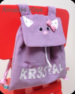 Sac à dos en velours chat de Krystal