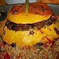 Légumes farcis avec son boulgour et sa compotée de tomate et basilic