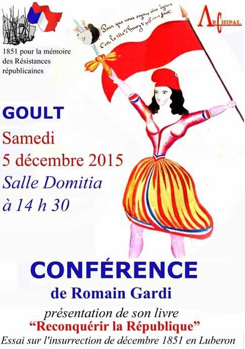 Présentation du livre de Mr Romain Gardi, Goult 5 décembre 2015