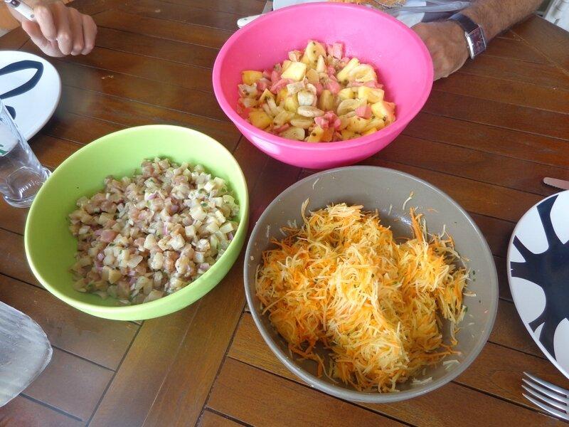 au menu, tartare de carangue et salade de papaye/carotte
