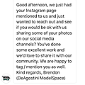 Deagostini MF 211 Petite parenthèse. Deagostini ModelSpace UK m'a envoyé ce message il y a qqs temps via Instagram! Wow! Complimenté par le fabriquant! Ils ont depuis partagé mon travail sur leurs réseaux sociaux...