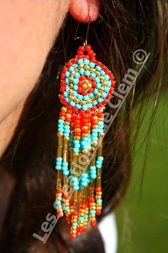 boucles d'oreilles perles de rocaille- rond+ style indien+ tissage perles +pampilles(1) tendance été