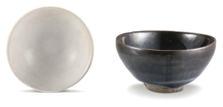 A 'Jian' 'hare's fur' bowl and a white-glazed bowl, Song dynasty