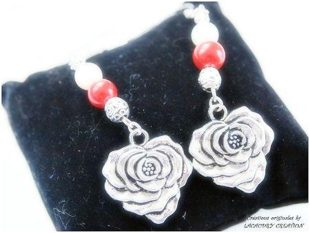 bo rose argent et corail rouge nacre blanche