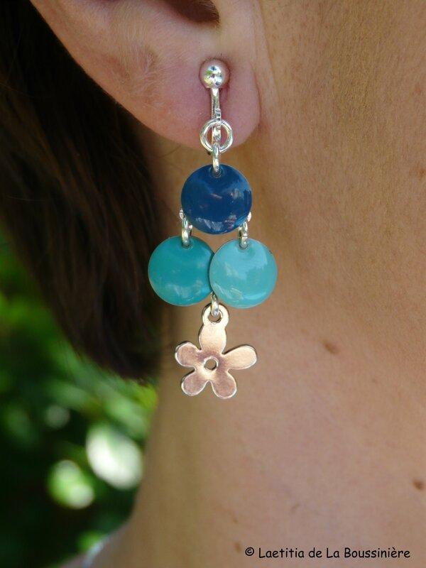 BO Fleur d'été (bleu pétrole, vert turquoise et vert d'eau)