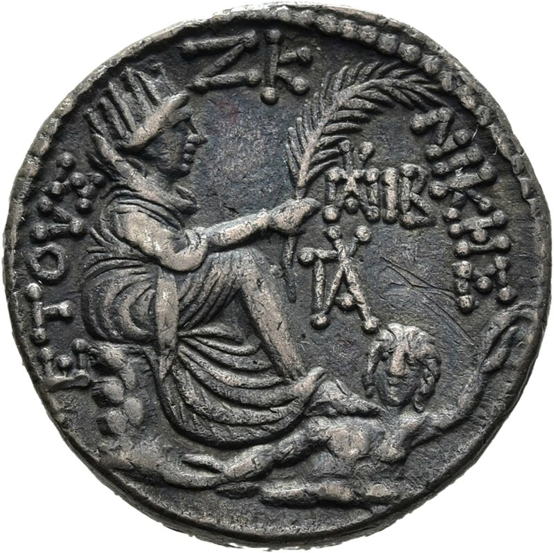 Antioch on the Orontes , back, Tyche of Antioch among them the floating river god Orontes, 5-4 v