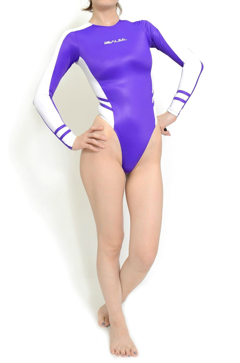 Maillot T-015 highleg long-sleeved Purple Side