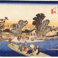 3_2ème relais ; Kawasaki (川崎) - Le bac de la rivière Rokugô (Rokugô watashibune [六郷渡舟])