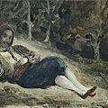 Eugène delacroix (1798-1863), a greek reclining