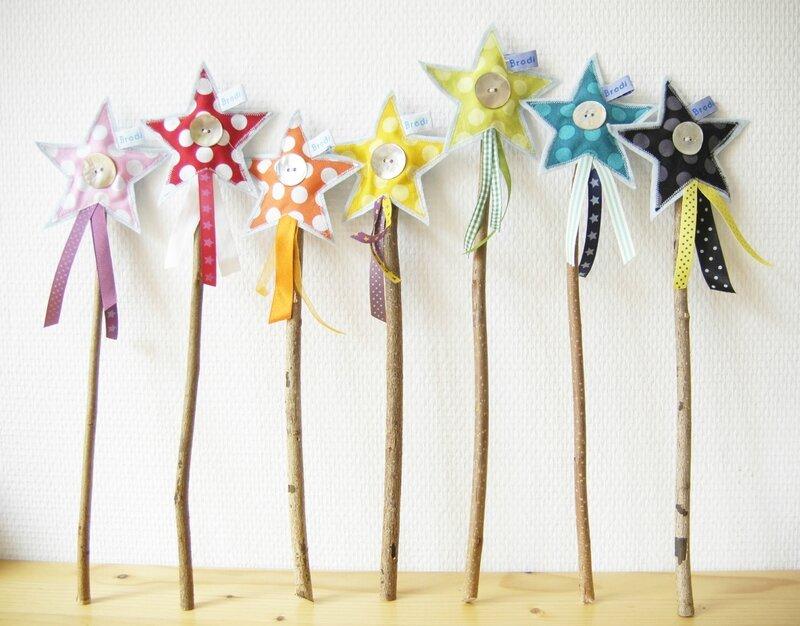 Brodi Broda-baguettes magiques en tissu-pois multicolores