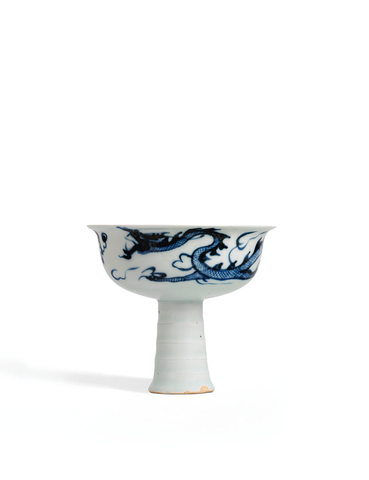 """A Fine And Rare Blue And White Moulded """"Dragon"""" Stemcup, Yuan Dynasty, Early-Mid 14th Century"""