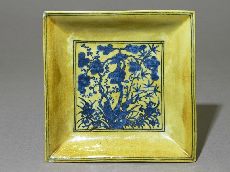 Square dish with flowers, c