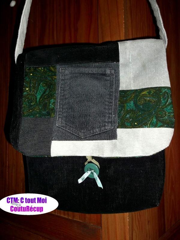 sac patch gris vert noir