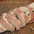 Filets de poulet en robe de jambon de bayonne, farcis aux champignons