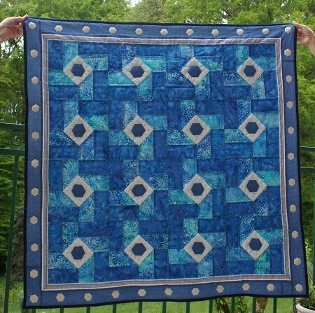 patch carrés bleu