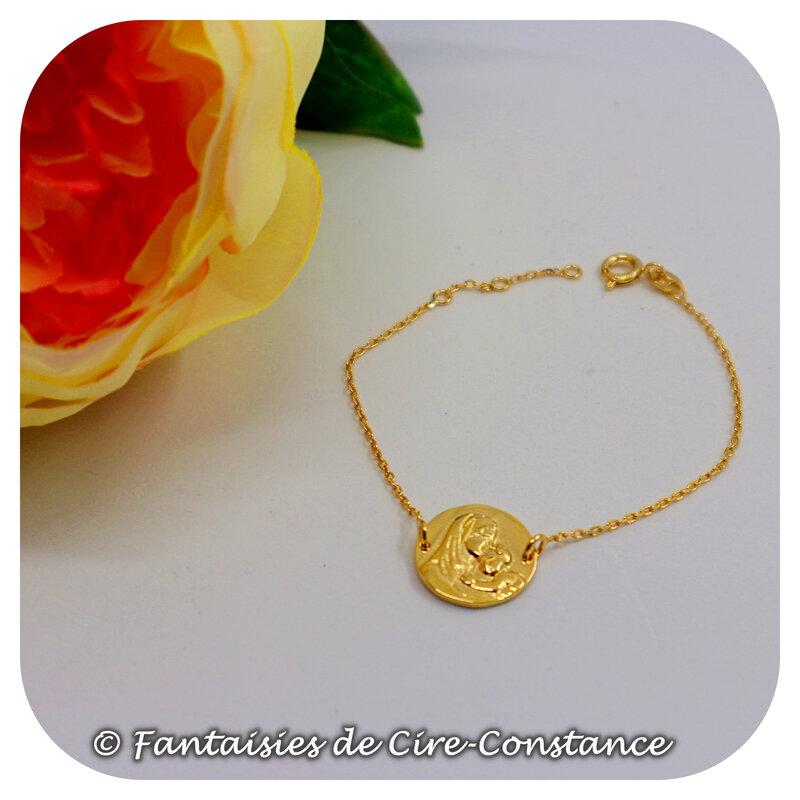 bracelet vierge plaqué or