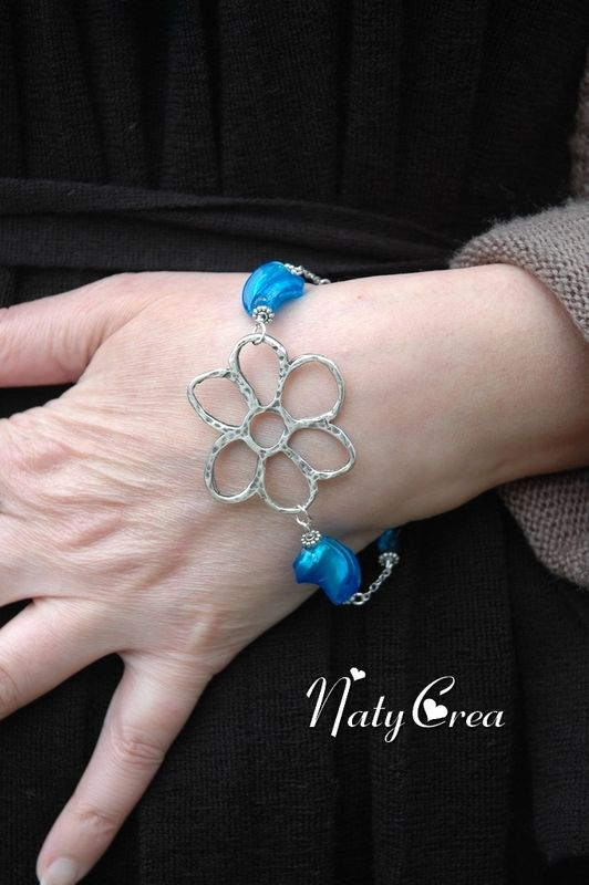 Bracelet LampWork Bleu 2