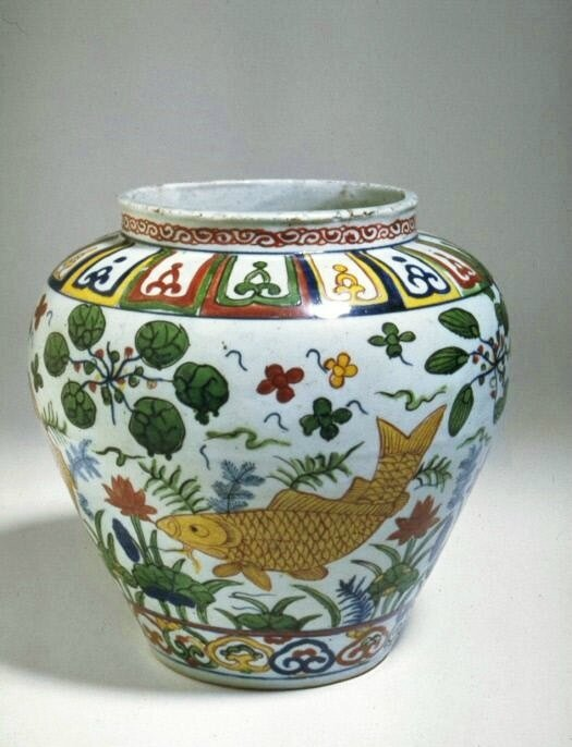 Jar with a scene of fish in a lotus pond, Ming dynasty (1368-1644), Jiajing mark and of the period (1522-1566)