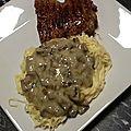 Spaghetti maison, sauce champignons à l'ail