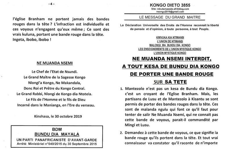 NE MUANDA NSEMI INTERDIT A TOUT KESA DE BUNDU DIA KONGO DE PORTER UNE BANDE ROUGE SUR SA TETE a