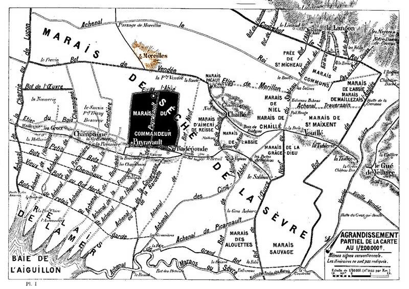 Carte des Marais desséché de la Sèvre Abbaye Moreilles Marais du Commandeur de Puyravault