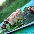 Champignon, féta et crevettes pour une timbale