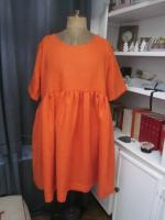 Robe RAYMONDE en lin orange (5)