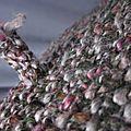 Béret SIMONE en maille chinée gris-vert-rose (1)