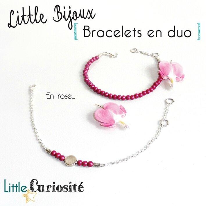 Little Bijoux - Bracelet fin Minimaliste - Duo de bracelets Argent - Perles Rose Fushia - Handmade in France - ©Little Curiosité (2)
