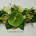 Petit Centre de Table cymbidium, Anthurium, Lysianthus