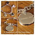11 b 7a.Bracelet argent massif grains de café moyen médailles gravées recto verso ange Clémence
