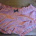 Culotte en coton rose à petits pois - noeud gris à pois (3)