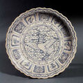 Blue and white stoneware dish with phoenix design. vietnam, 15th/16th century