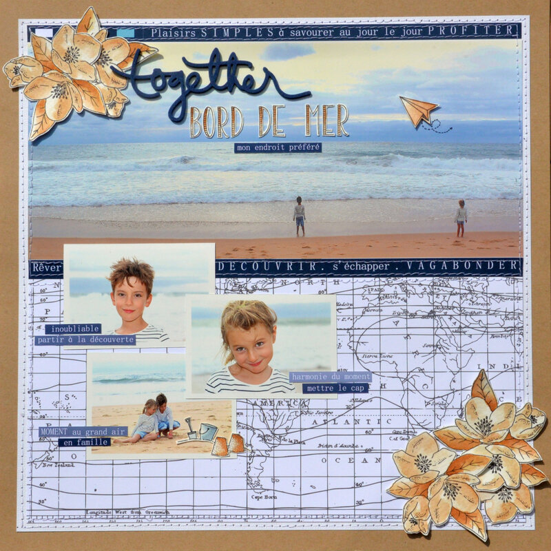 page together - collection signature carte postale- chou&flowers- juillet 19-claire m- scrap at home