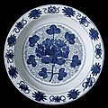 Dish (Pan) with Grape Spray, Eight Auspicious Symbols, and Rosettes, late Ming dynasty, about 1550-1644