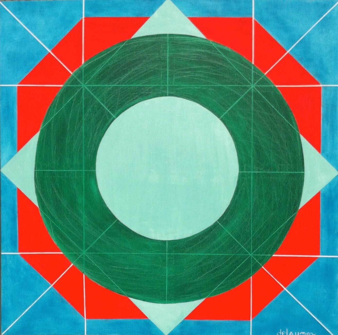 """Art conceptuel """"CIRCULATION"""" huile sur toile 100X100 ---> le monde tourne en rond"""