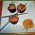 Les 1ers sushis de mon fils :) à sa manière