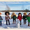 Bonhomme de neige et petits amoureux - snowman and little lovers