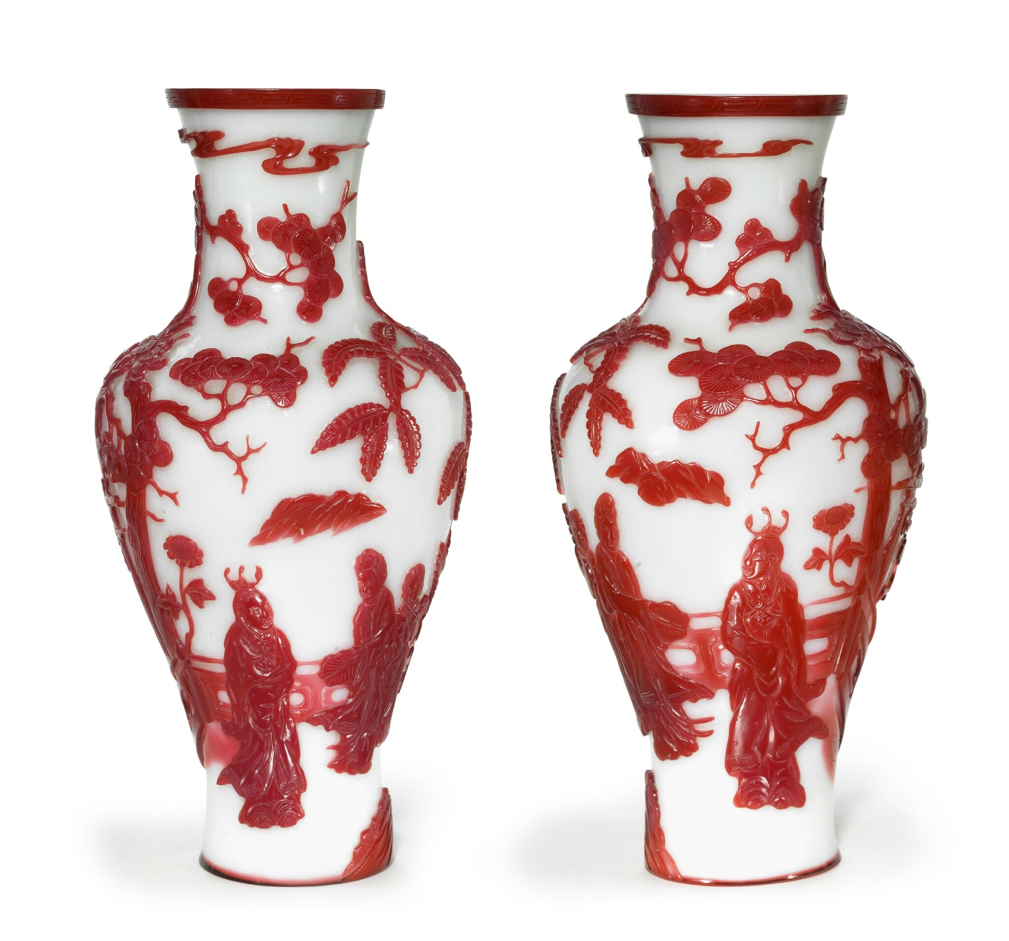 A pair of red overlay white glass vases, Late Qing Dynasty