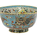 A chinese cloisonné bowl, late ming dynasty
