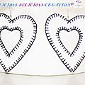 earrings white inner heart leatherette c