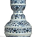 A rare blue and white water vessel, Ming Dynasty, Late 15th-Early 16th century