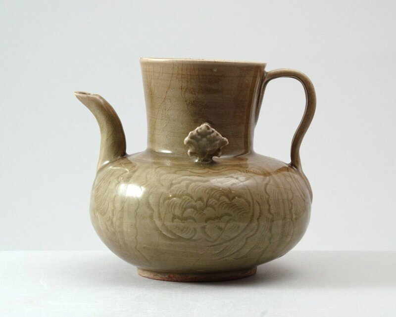 Greenware ewer with peony decoration amid waves, Zhejiang province, 11th - 12th century (1001 - 1200)