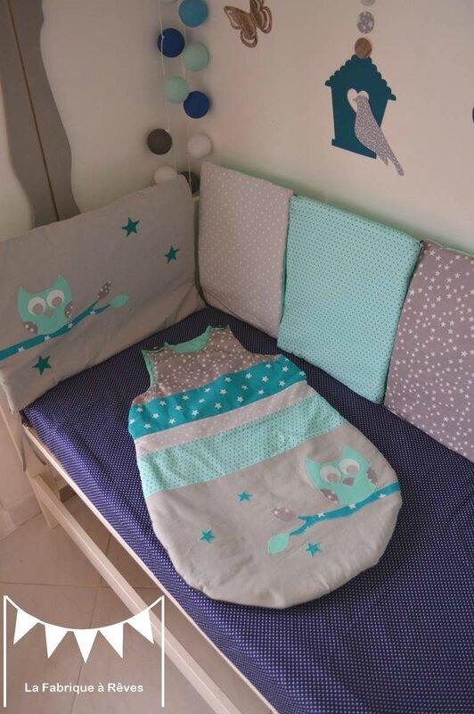gigoteuse turbulette 6 12 mois hibou étoiles gris turquoise - décoration chambre bébé fille garçon chouette étoiles turquoise gris 2
