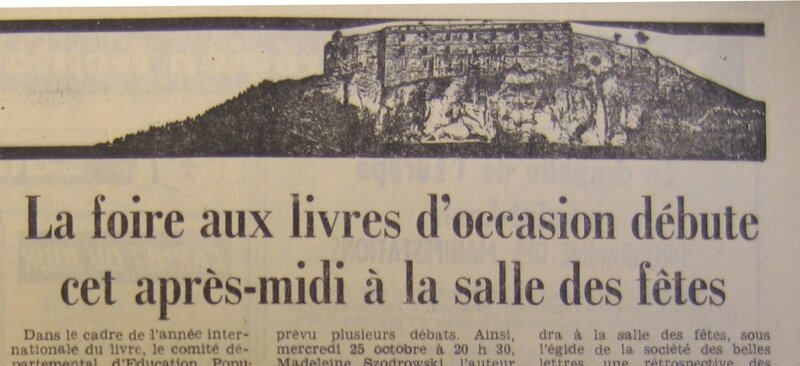 Foire aux livres 1972 Le Pays Oct Extrait IMG_16327