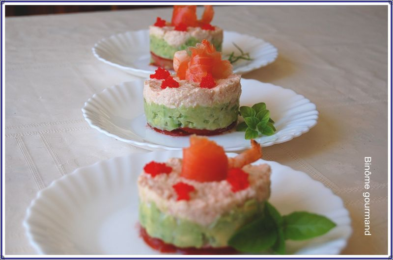timbales crabe avocat