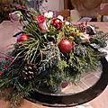 Arrangement floral, déco de table de nouvel an