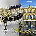 Collection versailles - bracelet stretch noir fleur de lys
