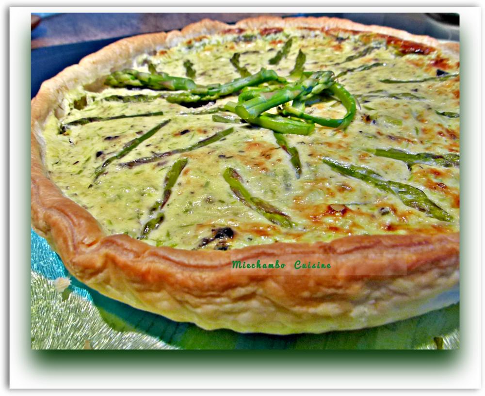 Tarte aux Asperges Vertes, Jambon Cru et Olives Taggiasche